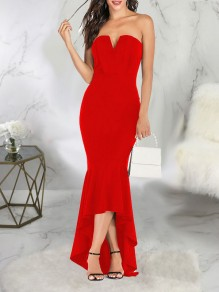 Red Off Shoulder Bodycon Mermaid Elegant Prom Evening Party Maxi Dress