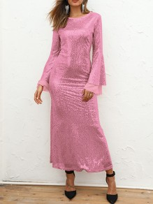 Pink Patchwork Sequin Grenadine Bodycon Mermaid Sparkly Glitter Birthday Prom Evening Party Maxi Dress