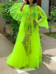 Neon Green Patchwork Grenadine Pleated Sheer Rave Party Maxi Dress
