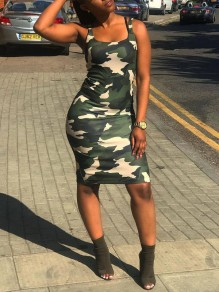 Camouflage Bodycon Round Neck Casual Party Maxi Dress