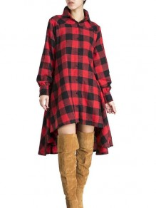 Red Plaid Buffalo Buttons High-Low Pleated Casual Maxi Dress
