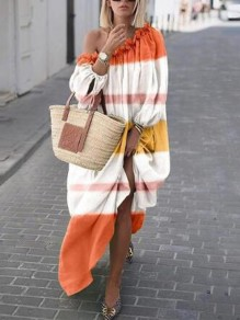 Orange-White Patchwork Pleated One Shoulder Flowy Bohemian Beach Holiday Maxi Dress