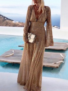 Khaki Glitter Sparkly Deep V-neck Long sleeve Elegant Party Prom Maxi Dress