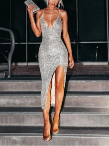Silver Patchwork Sequin Spaghetti Strap Thigh High Side Slits Bodycon Sparkly Glitter Birthday Party Maxi Dress