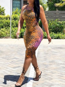 Brown Leopard Print Halter Neck Backless Bodycon Party Maxi Dress