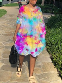 Yellow-Pink Tie Dyeing Pockets Round Neck Casual Maxi Dress