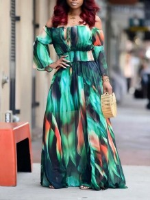 Green Tie Dyeing Off Shoulder Cut Out Pleated Bohemian Beach Maxi Dress