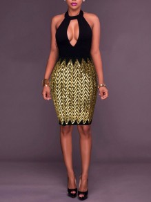Golden Patchwork Sequin Backless Bodycon Deep V-neck Sparkly Glitter Birthday Party Maxi Dress