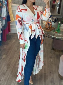 White Floral Pleated Belt Irregular High-Low V-neck Casual Maxi Dress