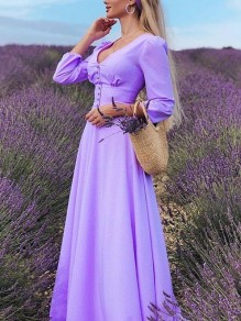 Lavender Single Breasted Deep V-neck 3/4 Sleeve Banquet Wedding Party Maxi Dress