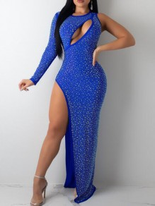 Royal Blue Irregular Rhinestone Cut Out Side Slit Banquet Party Sparkly Maxi Dress