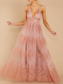 Pink Patchwork Grenadine Floral Spaghetti Strap Backless V-neck Prom Evening Party Maxi Dress