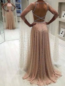 Champagne Lace Fashion One Piece Cocktail Party Maxi Dress