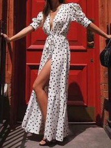 White Polka Dot Irregular Sashes Deep V-neck Half Sleeve Bohemian Maxi Dress
