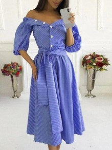Blue-White Striped Irregular Off Shoulder Single Breasted Sashes Half Sleeve Casual Maxi Dress