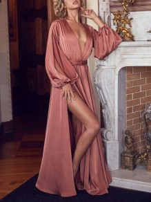Pink Pleated Thigh High Side Slits V-neck Elegant Prom Evening Party Maxi Dress