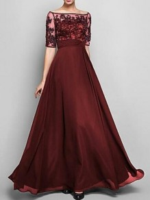 Burgundy Patchwork Lace Off Shoulder Half Sleeve Banquet Party Maxi Dress
