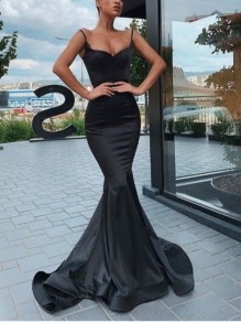 Black Spaghetti Strap Bodycon Mermaid Prom Evening Party Maxi Dress