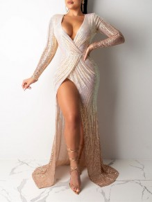 Apricot Patchwork Sequin Thigh High Side Slits V-neck Sparkly Glitter Birthday Prom Evening Party Maxi Dress