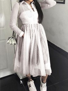 White Polka Dot Grenadine Pockets Einreiher Umlegekragen schiere Bankett Party Maxi-Kleid