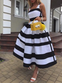 Black-White Striped Pleated Pockets Tutu Prom Evening Party Maxi Dress