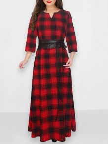 Red-Black Buffalo Plaid Belt 3/4 Sleeve Flannel Plus Size Elegant Banquet Party Prom Maxi Dress