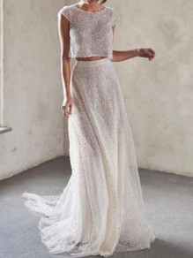 White Sequin Mermaid Bronzing Two Piece Sparkly Banquet Wedding Party Maxi Dress