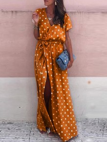Orange Polka Dot Belt Slit Side V-neck Short Sleeve Fashion Maxi Dress