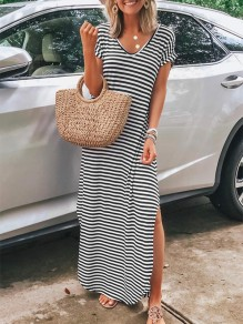 White Black Striped Side Slit V-neck Sleeveless Fashion Maxi Dress