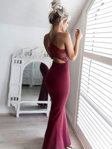 Dark Red Patchwork Lace Cross Back Backless Sleeveless Fashion Maxi Dress