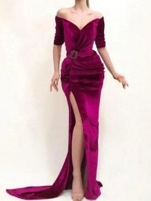 Purple Irregular Off Shoulder Backless Half Sleeve Slit Mermaid Elegant Party Maxi Dress