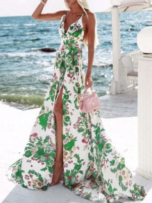White-Green Floral Pattern Side Slit Cross Back Halter Neck Miami Holiday Bohemian Maxi Dress