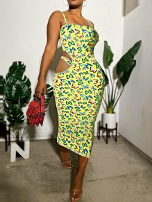 Yellow Butterfly Print Cut Out Spaghetti Strap Bodycon Party Maxi Dress