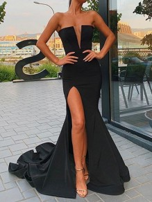 Black Off Shoulder Side Slits Bodycon Mermaid V-neck Prom Evening Party Maxi Dress