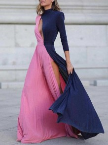 Pink-Blue Patchwork Pleated Irregular Side Slit Cut Out Banquet Prom Party Maxi Dress