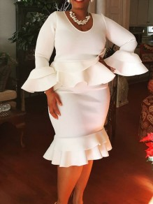 White Ruffle Peplum Plus Size Bodycon Mermaid Bell Sleeve Elegant Party Maxi Dress