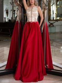 Red Patchwork Lace Backless Pleated Prom Evening Party Maxi Dress