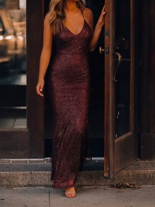 Red Bright Wire Spaghetti Strap Ruffle Backless Bodycon Mermaid Sparkly Glitter Birthday Prom Evening Party Maxi Dress