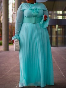 Light Blue Patchwork Grenadine Ruffle Pleated Plus Size Prom Evening Party Maxi Dress