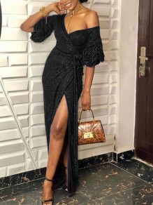 Black Bright Wire Off Shoulder Thigh High Side Slits Sparkly Glitter Birthday Party Maxi Dress