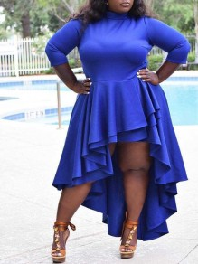 Blue Cascading Ruffle Pleated Irregular High-Low Plus Size Party Maxi Dress