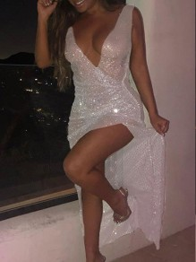 Silver Patchwork Sequin Irregular Front Slit Sparkly Glitter Birthday Prom Evening Party Maxi Dress