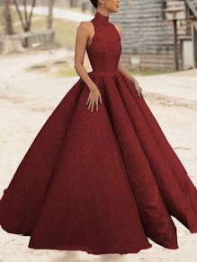 Burgundy Bright Wire Pleated Big Swing Sparkly Glitter Birthday Prom Evening Party Maxi Dress