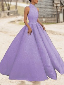 Purple Bright Wire Pleated Big Swing Sparkly Glitter Birthday Prom Evening Party Maxi Dress