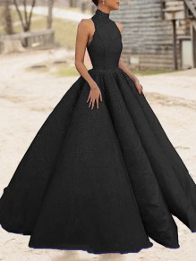 Black Bright Wire Pleated Big Swing Sparkly Glitter Birthday Prom Evening Party Maxi Dress