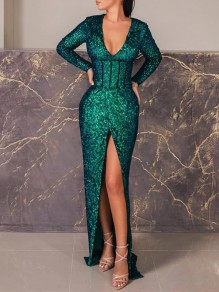 Green Patchwork Sequin Front Slit Bodycon Sparkly Glitter Birthday Prom Evening Party Maxi Dress