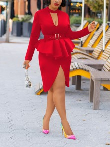 Red Cascading Ruffle Peplum Cut Out Front Slit Bodycon Elegant Party Maxi Dress