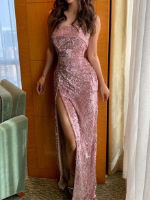 Pink Patchwork Sequin Off Shoulder Side Slits Bodycon Mermaid Sparkly Glitter Birthday Prom Evening Party Maxi Dress