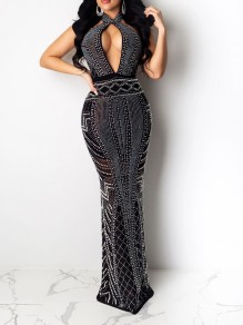Black Patchwork Rhinestone Cut Out Backless Bodycon Mermaid Sparkly Glitter Birthday Prom Evening Party Maxi Dress