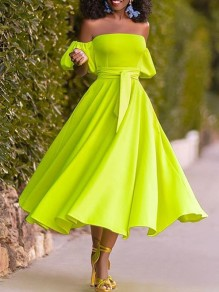 Neon Green Off Shoulder Belt Pleated Elegant Prom Party Midi Dress
